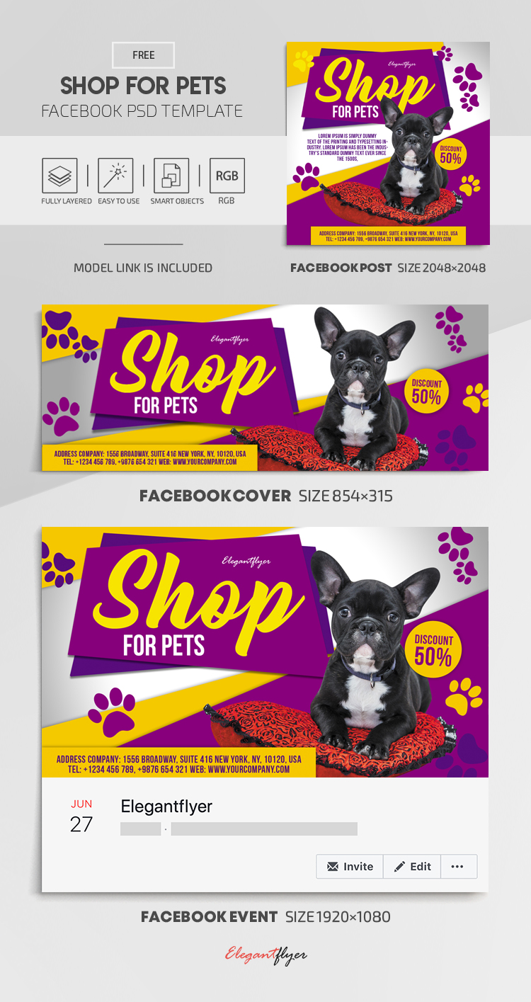 Shop for Pets – Free Facebook Cover Template in PSD + Post + Event cover