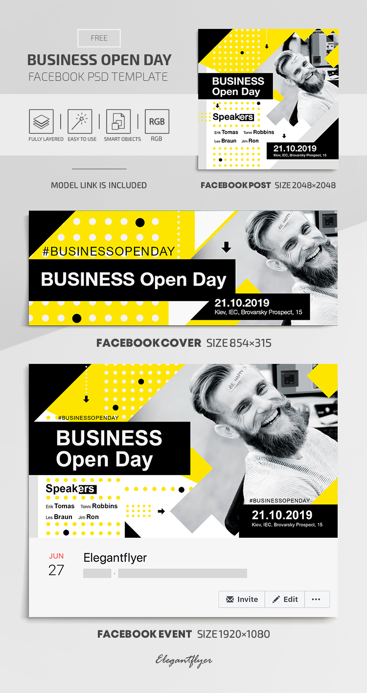 Business Open Day – Facebook Cover Template in FREE PSD + Post + Event cover