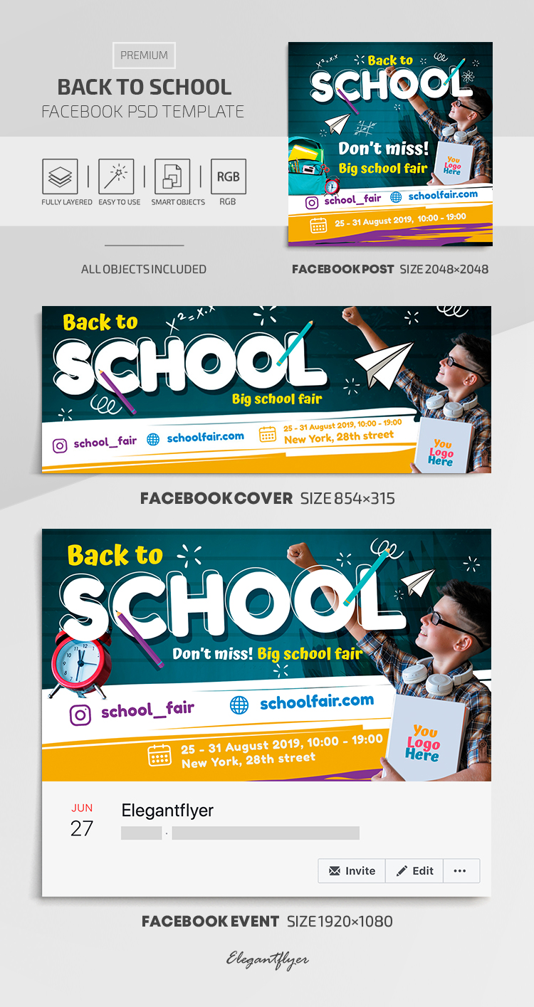 Back to School – Facebook Cover Template in Premium PSD + Post + Event cover