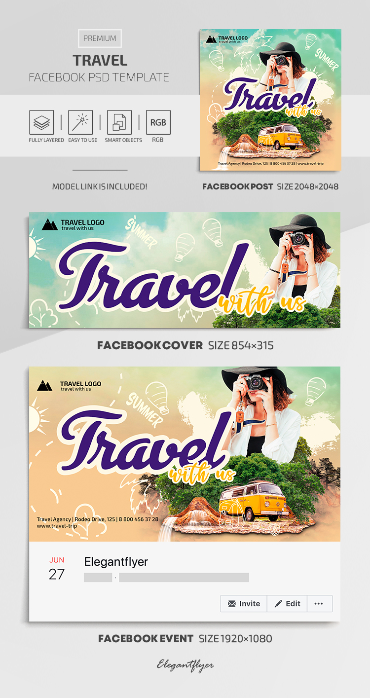 Travel – Facebook Cover Template in Premium PSD + Post + Event cover