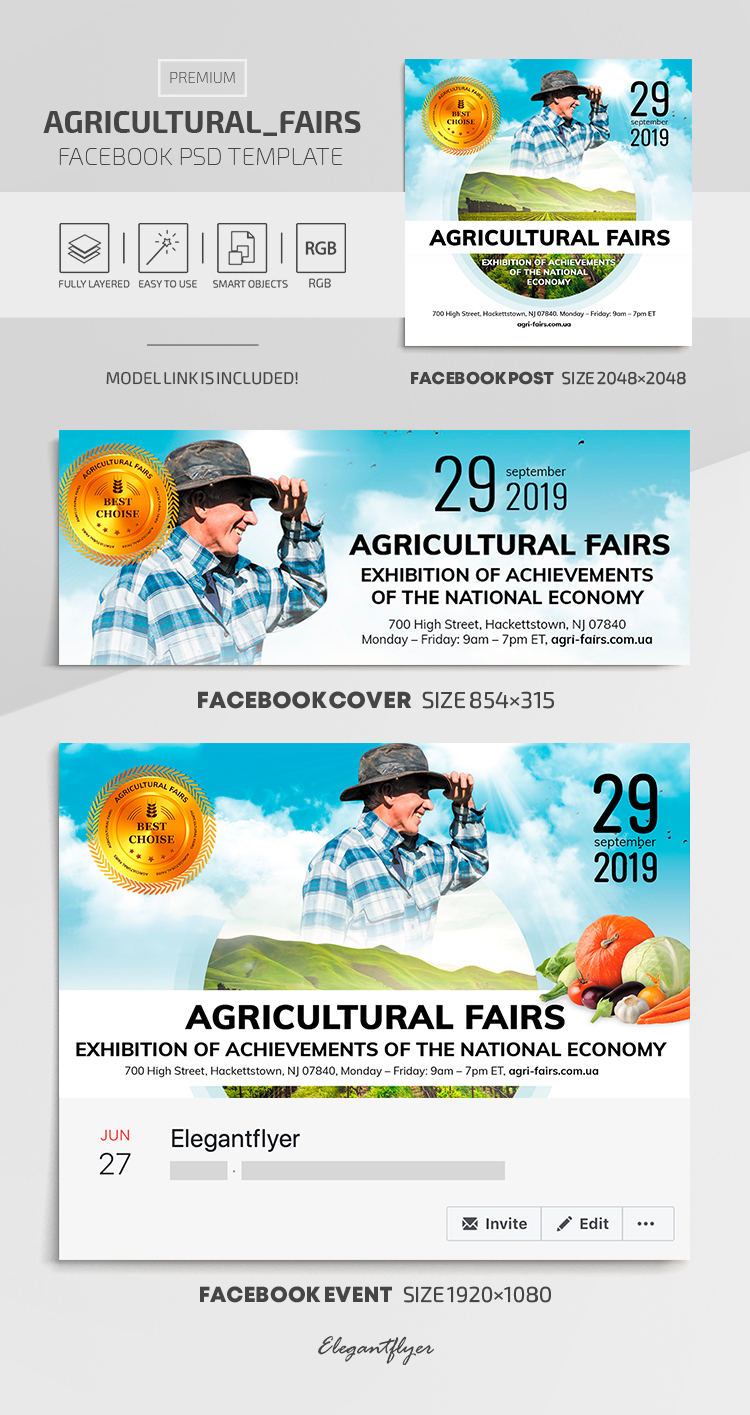 Agricultural Fairs – Facebook Cover Template in Premium PSD + Post + Event cover