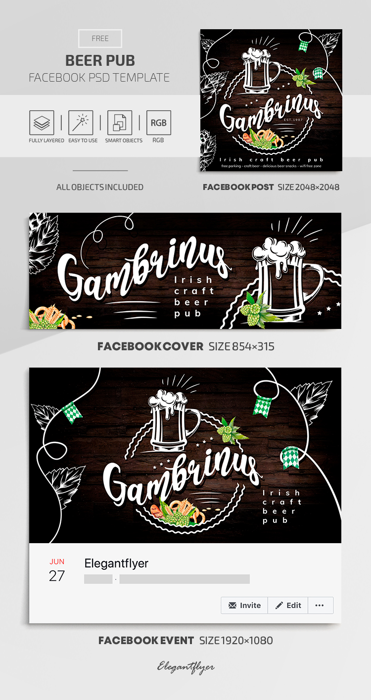 Beer Pub – Facebook Cover Template in FREE PSD + Post + Event cover