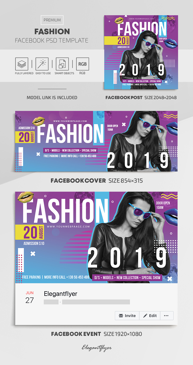 Fashion – Facebook Cover Template in PSD + Post + Event cover