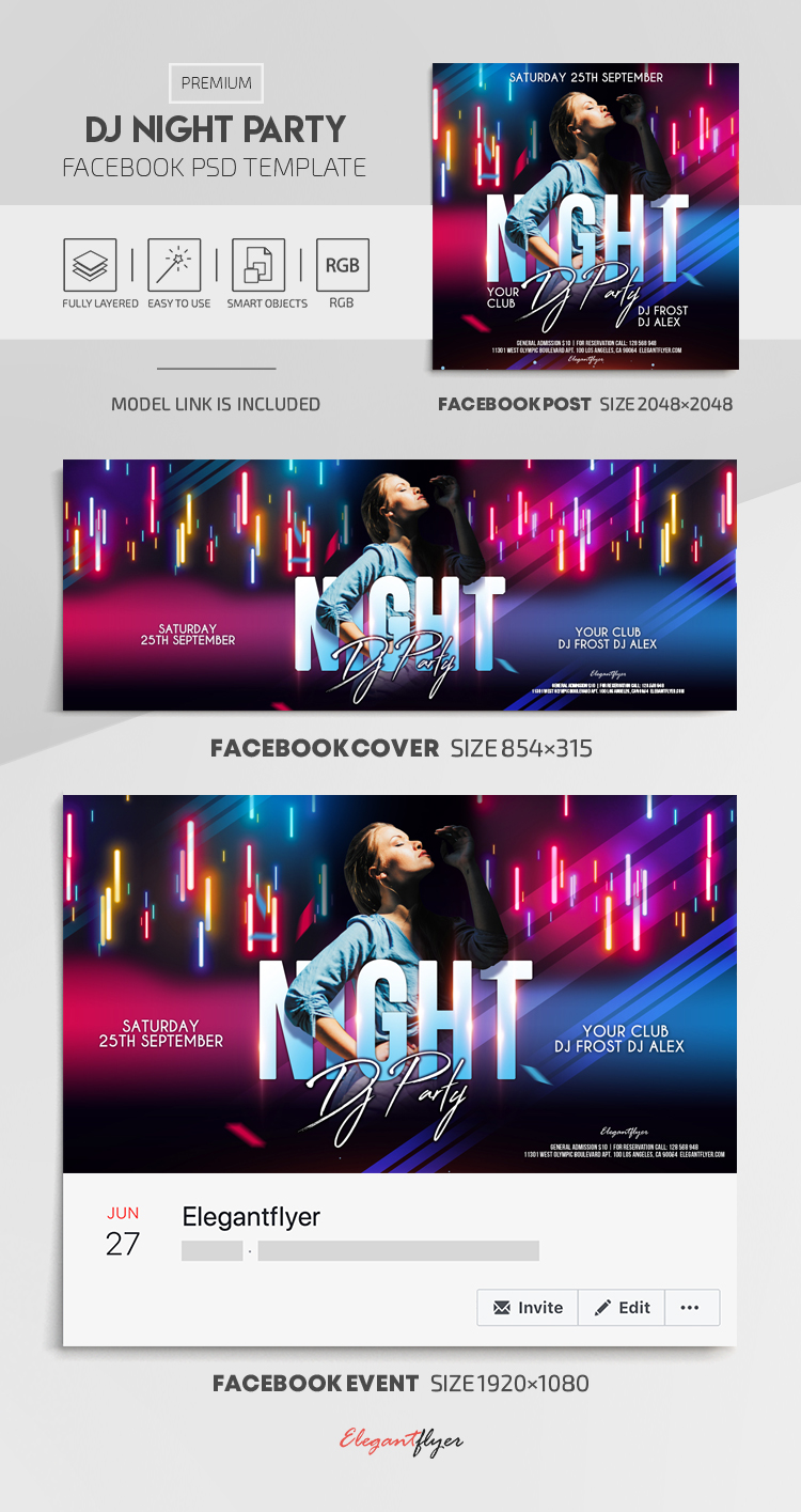 Dj Night Party – Facebook Cover Template in PSD + Post + Event cover