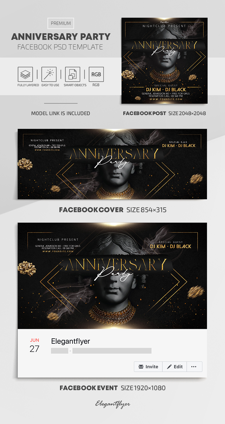 Anniversary Party – Premium Facebook Cover Template in PSD + Post + Event cover