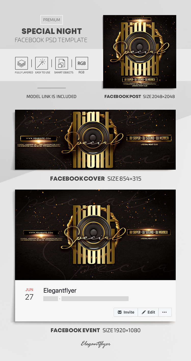 Special Night – Facebook Cover Template in PSD + Post + Event cover