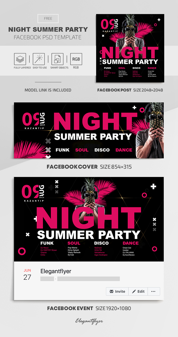 Night Summer Party – Free Facebook Cover Template in PSD + Post + Event cover