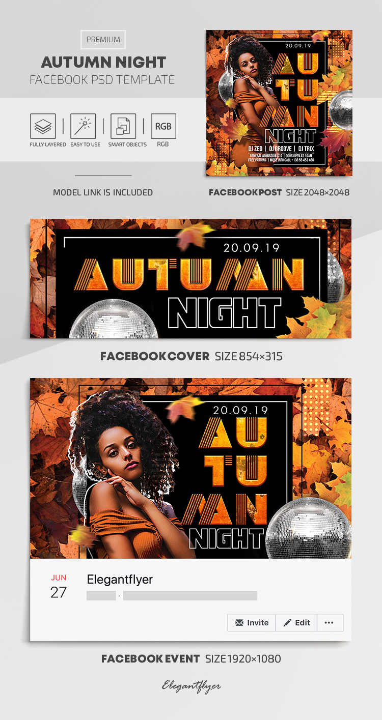 Autumn Night – Facebook Cover Template in PSD + Post + Event cover