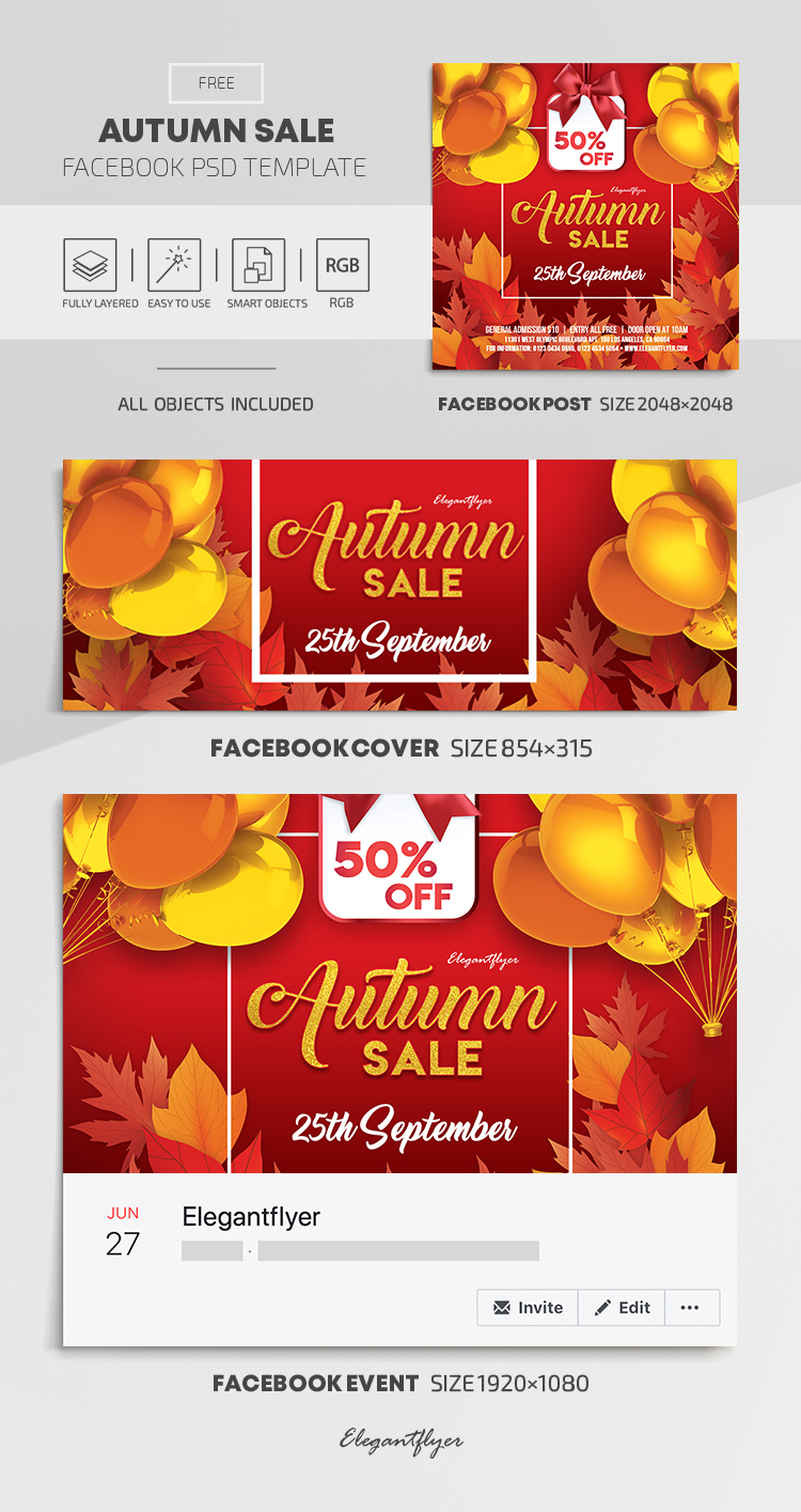 Autumn Sale – Free Facebook Cover Template in PSD + Post + Event cover