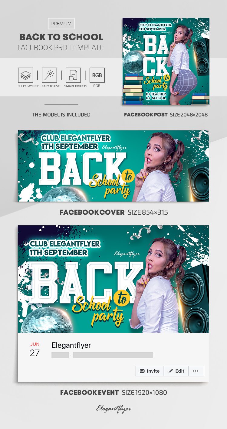 Back to School – Facebook Cover Template in PSD + Post + Event cover