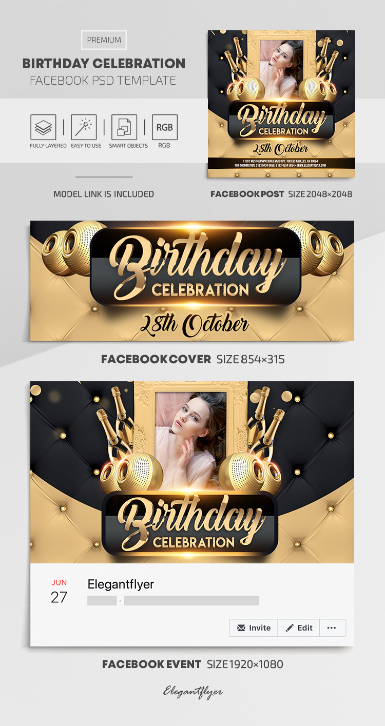 Birthday Celebration – Facebook Cover Template in PSD + Post + Event cover