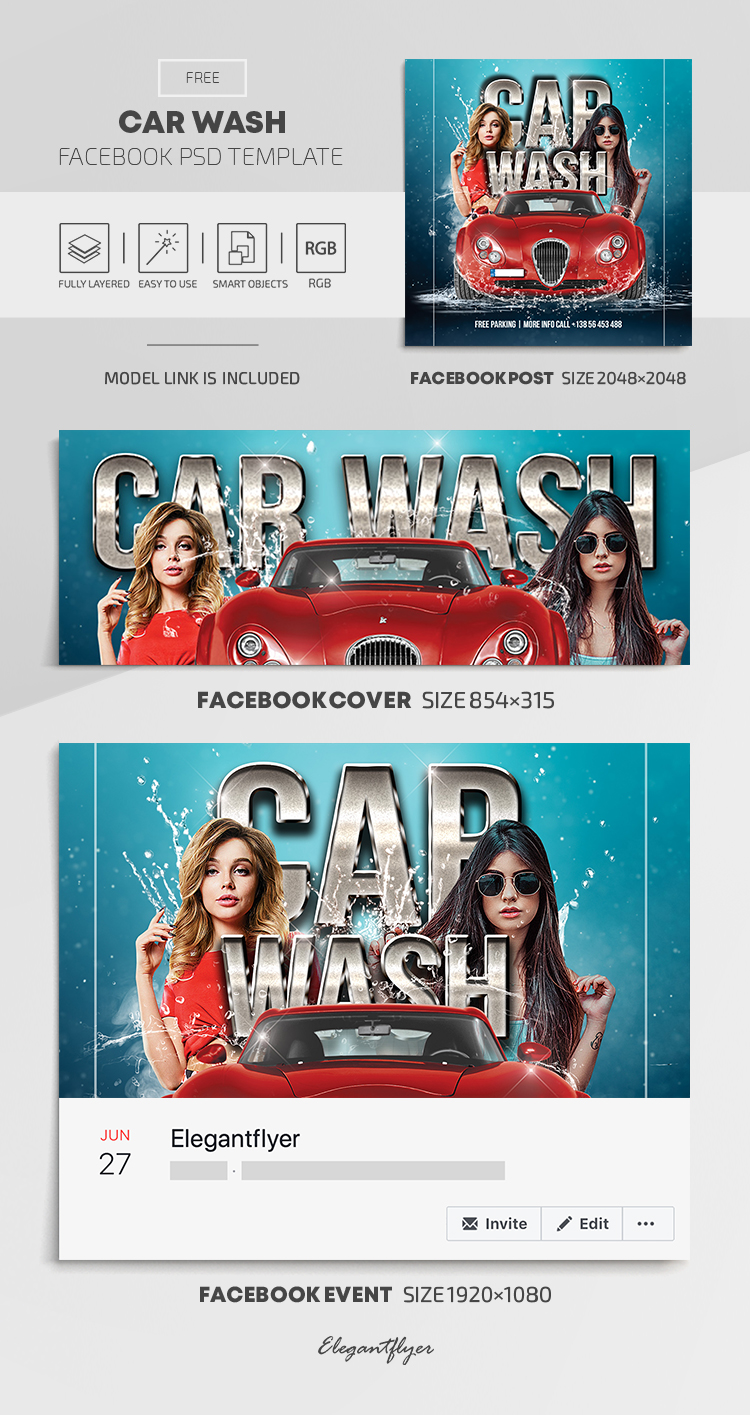 Car Wash – Free Facebook Cover Template in PSD + Post + Event cover
