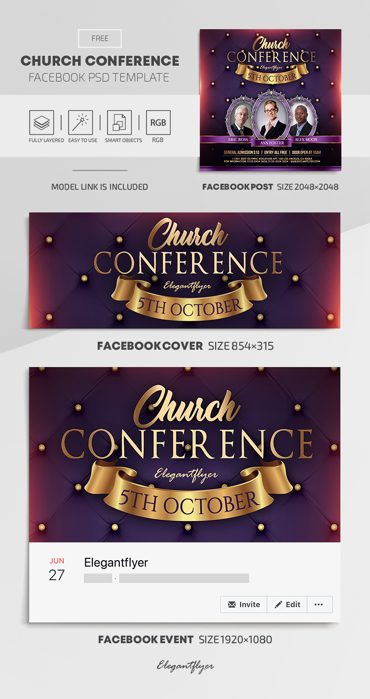 Church Conference Free Facebook Cover Template In Psd