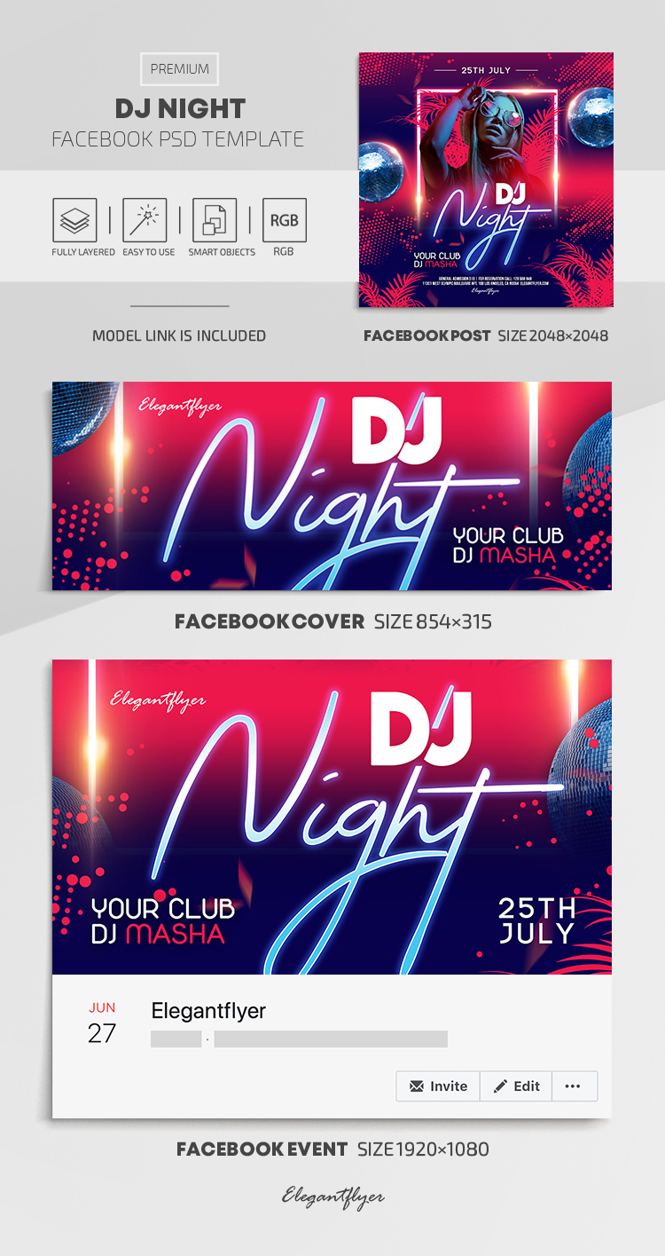 DJ Night – Facebook Cover Template in PSD + Post + Event cover