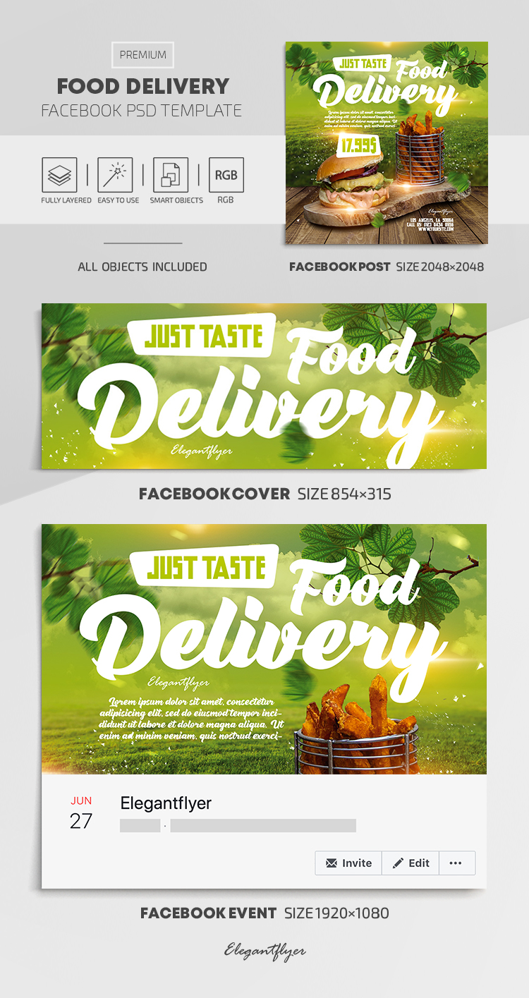 Food Delivery – Facebook Cover Template in PSD + Post + Event cover