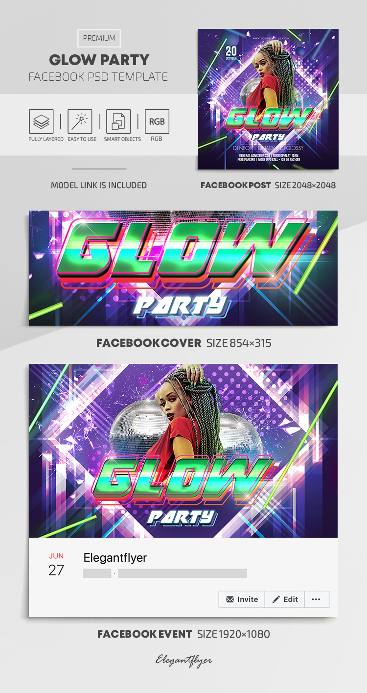 Glow Party – Facebook Cover Template in PSD + Post + Event cover