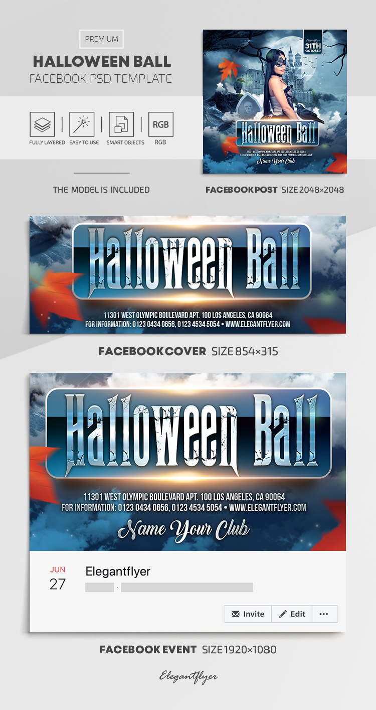 Halloween Ball – Facebook Cover Template in PSD + Post + Event cover