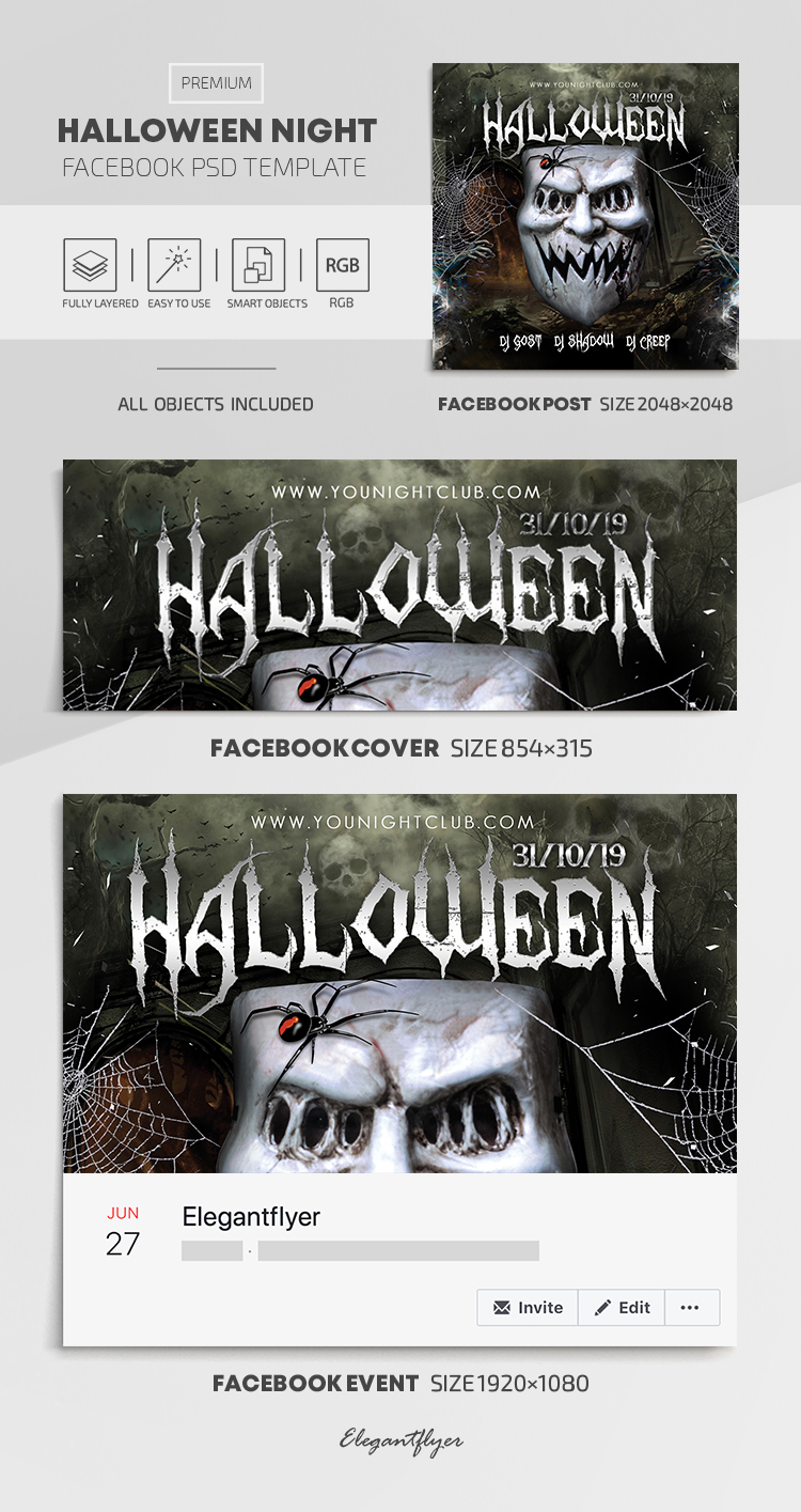 Halloween Night – Facebook Cover Template in PSD + Post + Event cover