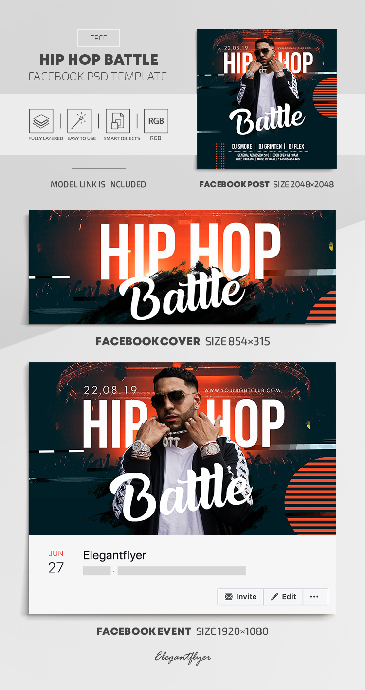 Hip Hop Battle – Free Facebook Cover Template in PSD + Post + Event cover