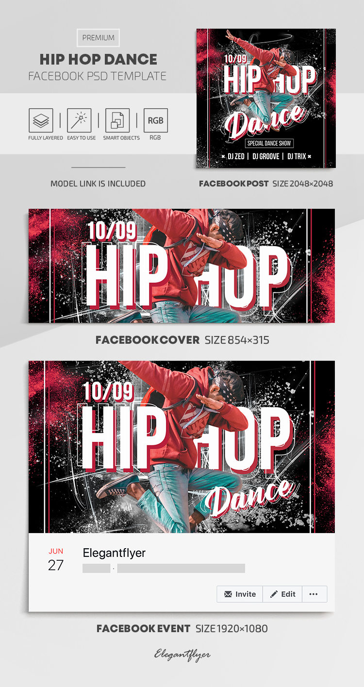 Hip Hop Dance – Facebook Cover Template in PSD + Post + Event cover