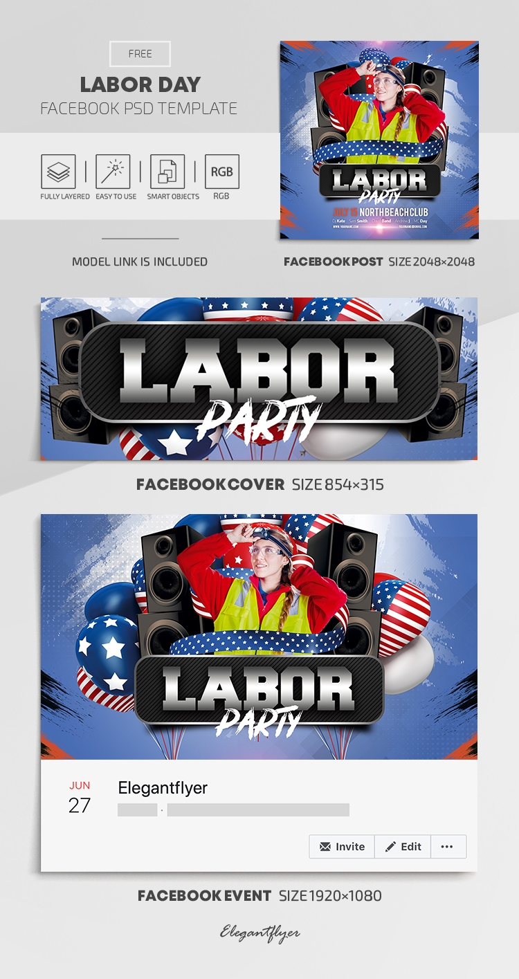 Labor Day – Free Facebook Cover Template in PSD + Post + Event cover