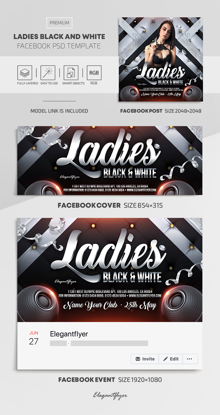 Ladies Black and White – Facebook Cover Template in PSD + Post + Event cover