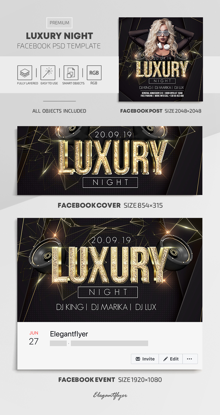 Luxury Night – Facebook Cover Template in PSD + Post + Event cover