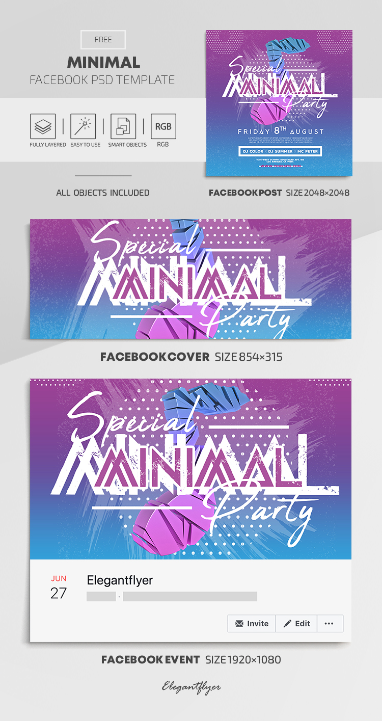 Minimal – Free Facebook Cover Template in PSD + Post + Event cover