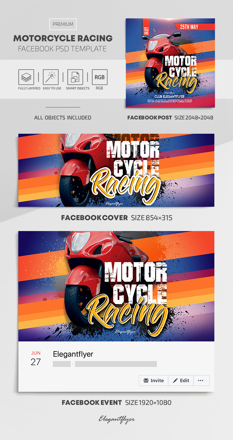 Motorcycle Racing – Facebook Cover Template in PSD + Post + Event cover