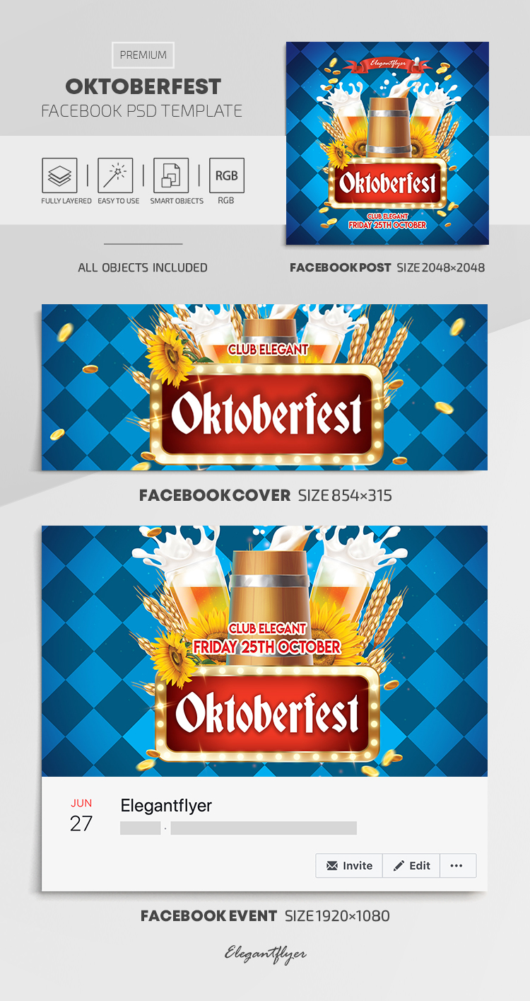 Oktoberfest – Facebook Cover Template in PSD + Post + Event cover