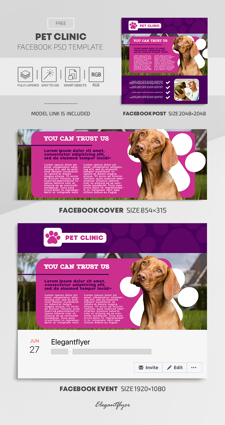Pet Clinic – Free Facebook Cover Template in PSD + Post + Event cover