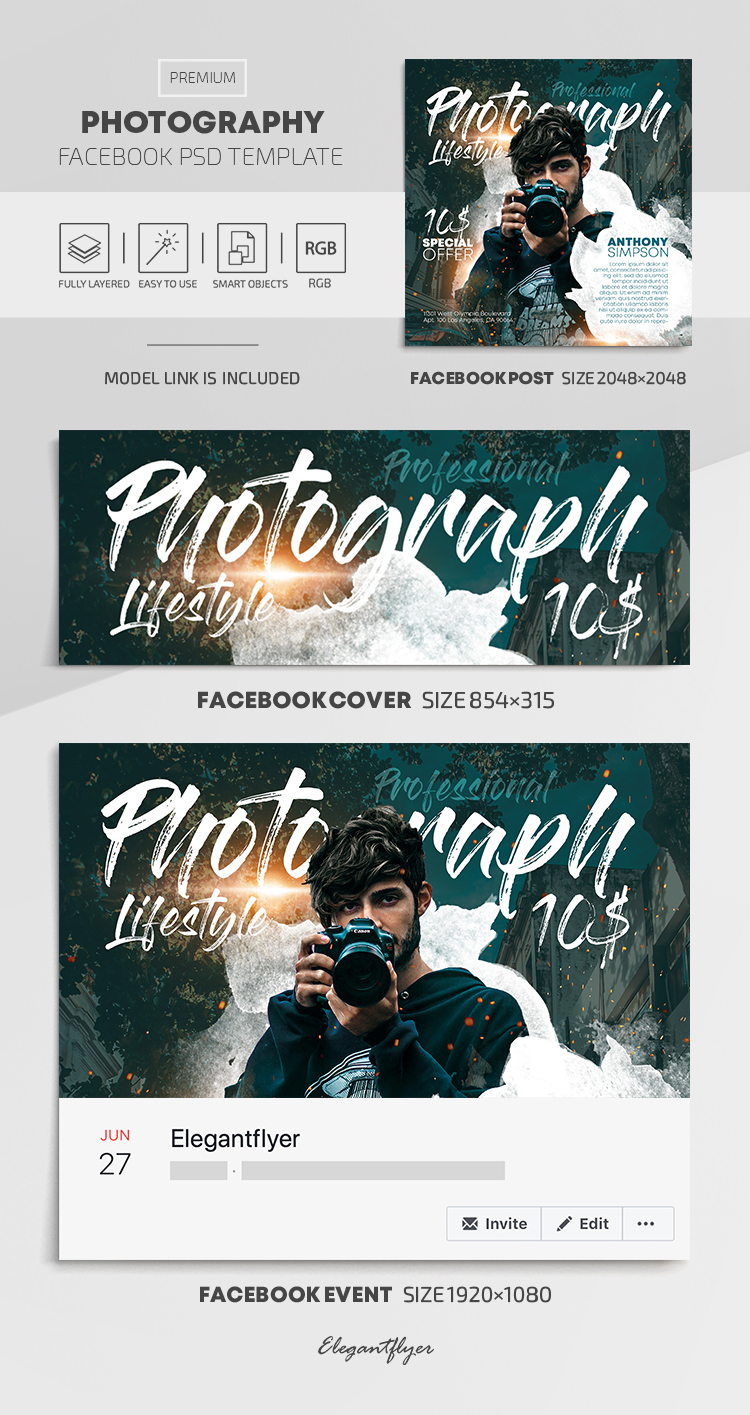 Photography – Facebook Cover Template in PSD + Post + Event cover