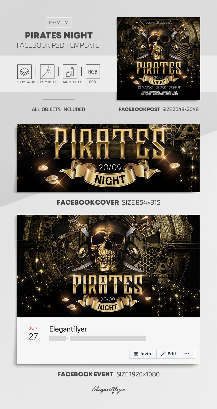 Pirates Night – Facebook Cover Template in PSD + Post + Event cover