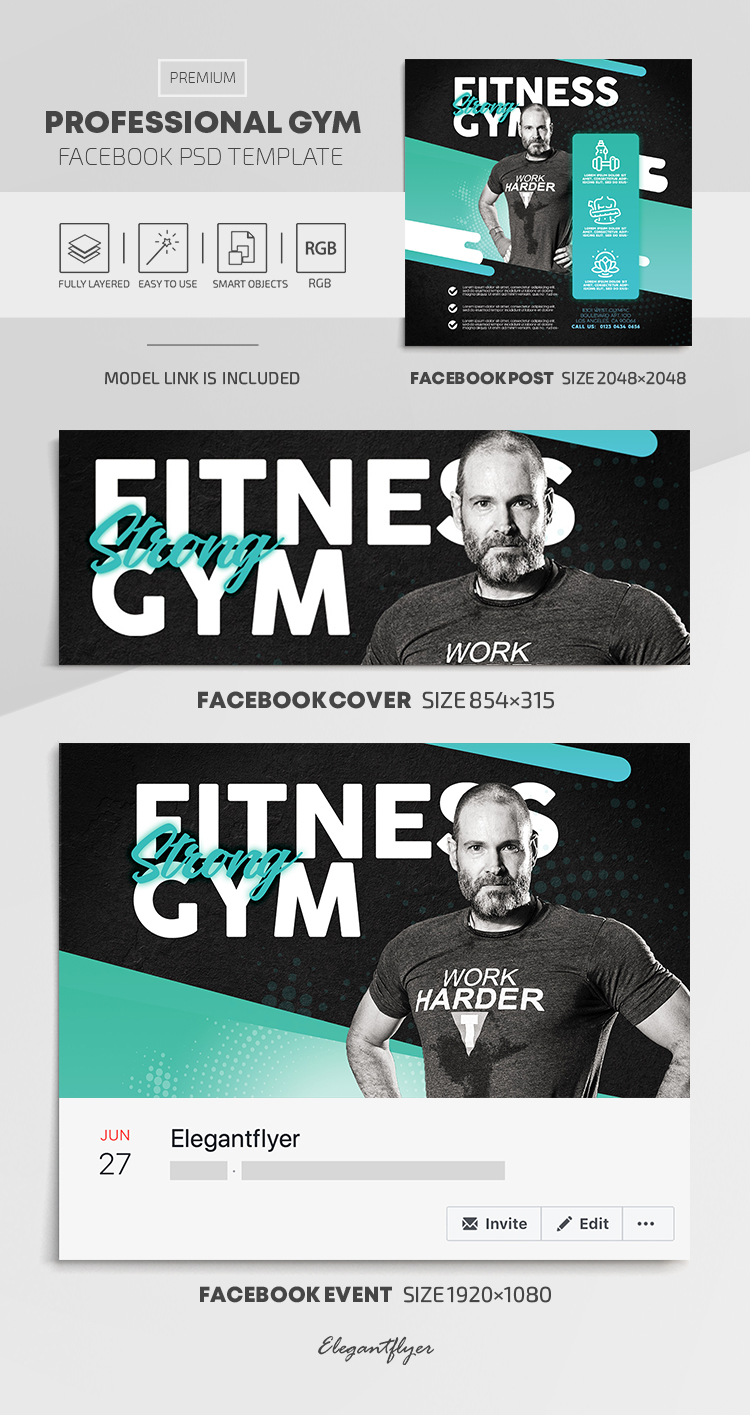 Professional GYM – Facebook Cover Template in PSD + Post + Event cover