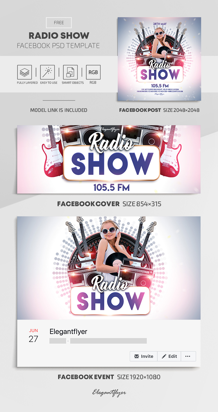Radio Show – Free Facebook Cover Template in PSD + Post + Event cover