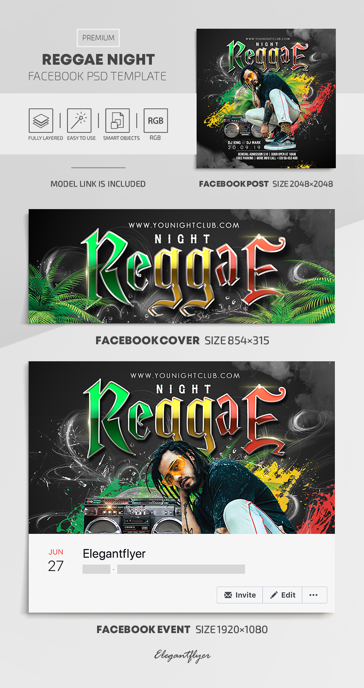 Reggae Night – Facebook Cover Template in PSD + Post + Event cover