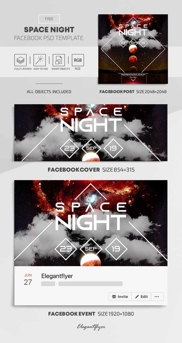 Space Night – Free Facebook Cover Template in PSD + Post + Event cover