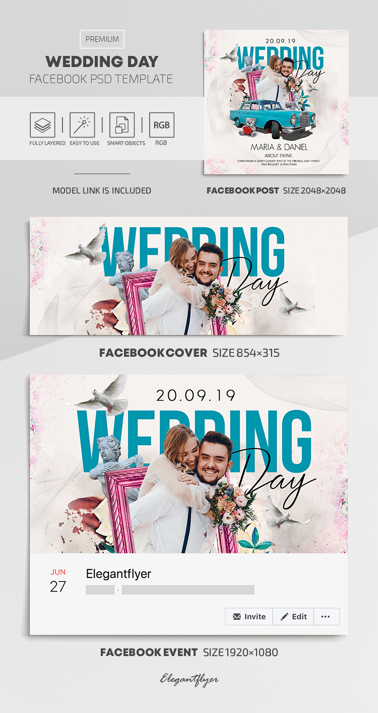 Wedding Day – Facebook Cover Template in PSD + Post + Event cover