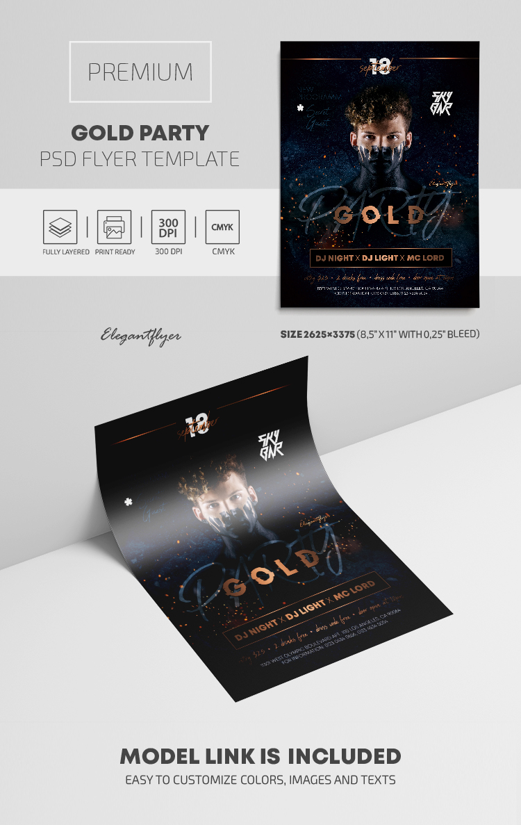 Gold Party – Premium PSD Flyer Template