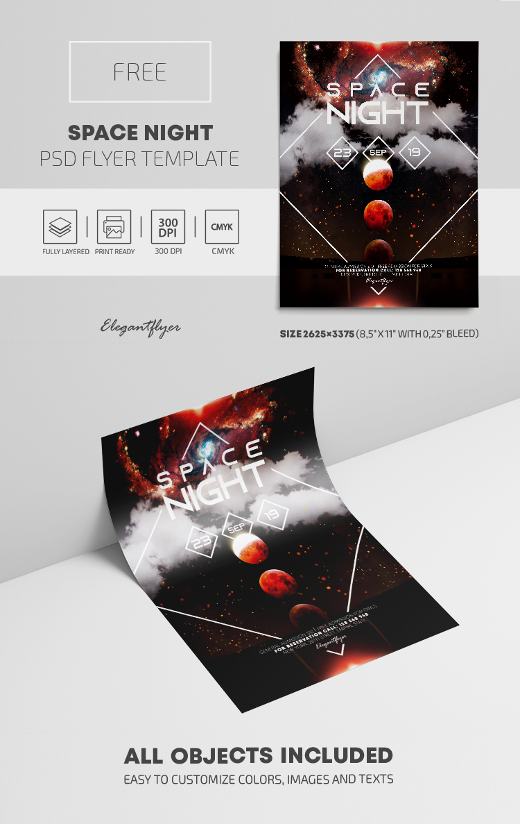 Space Night – Free PSD Flyer Template