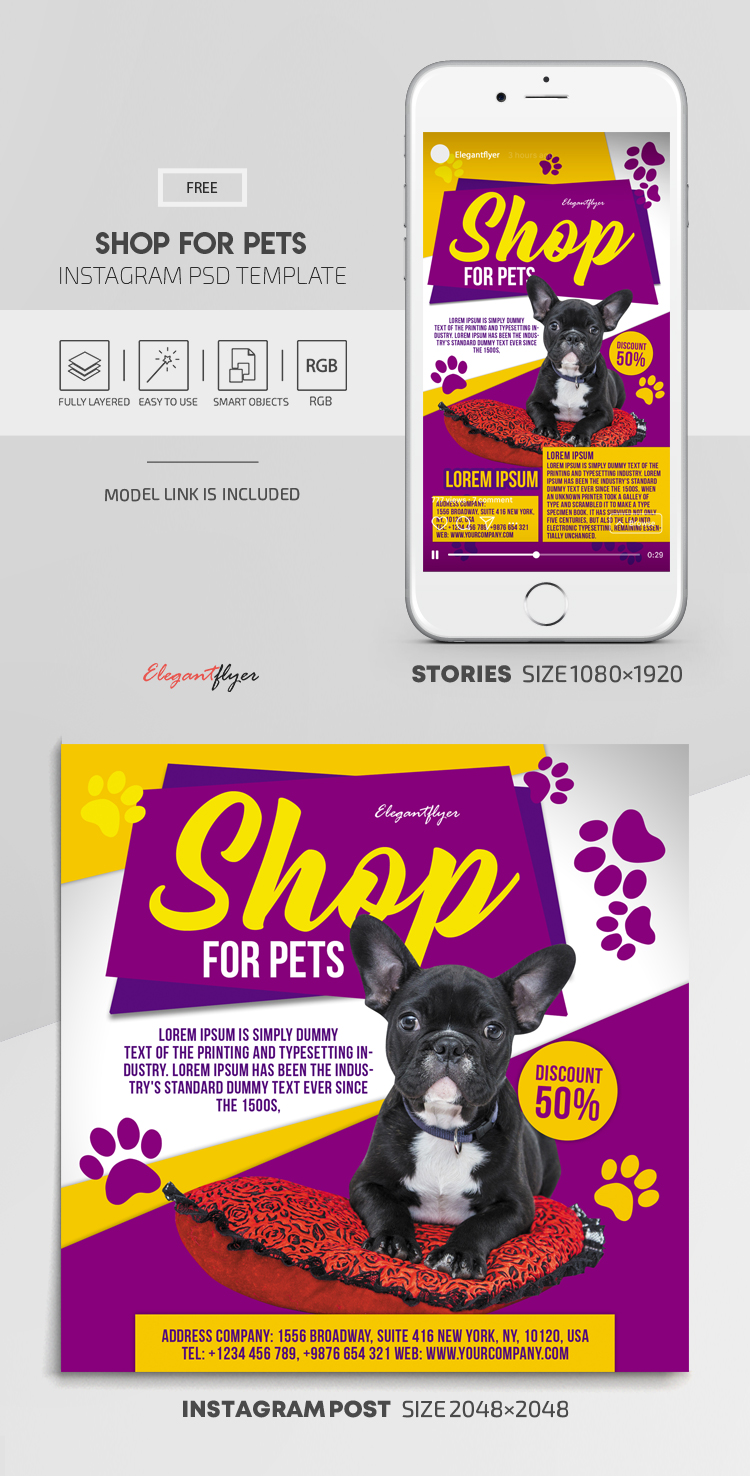 Shop for Pets – Free Instagram Stories Template in PSD + Post Templates