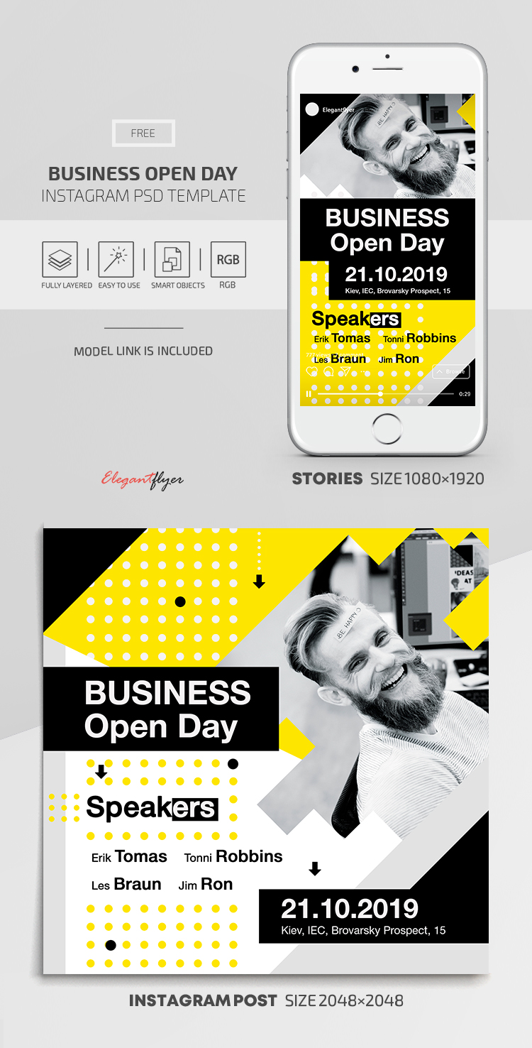 Business Open Day – Instagram Stories Template in FREE PSD + Post Templates