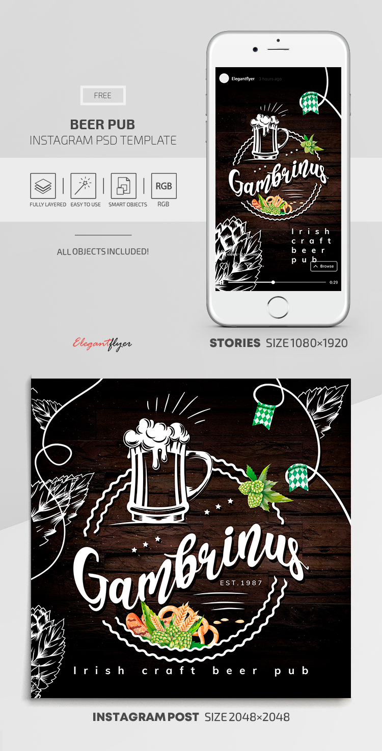 Beer Pub – Instagram Stories Template in FREE PSD + Post Templates