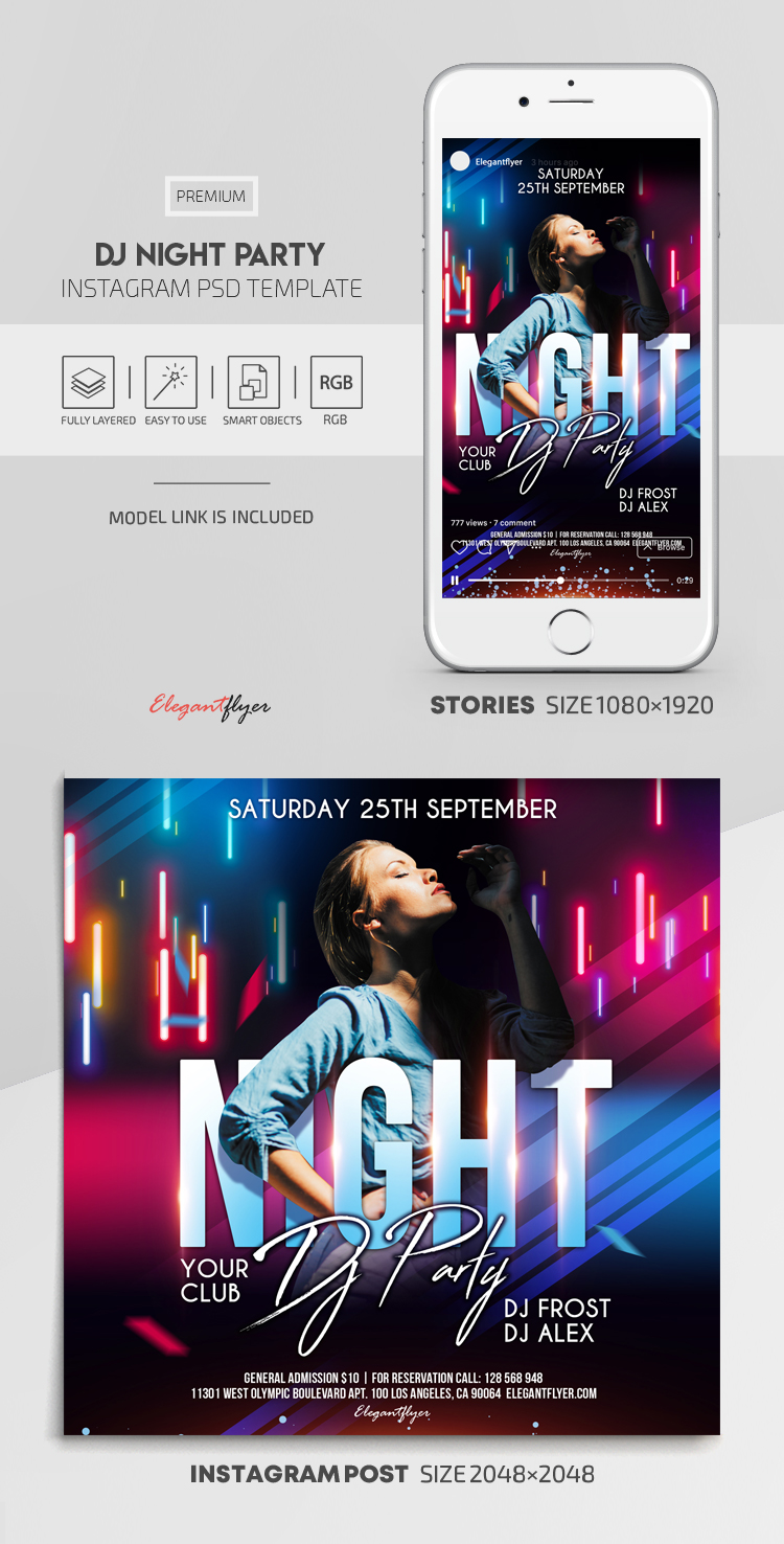 Dj Night Party – Instagram Stories Template in PSD + Post Templates