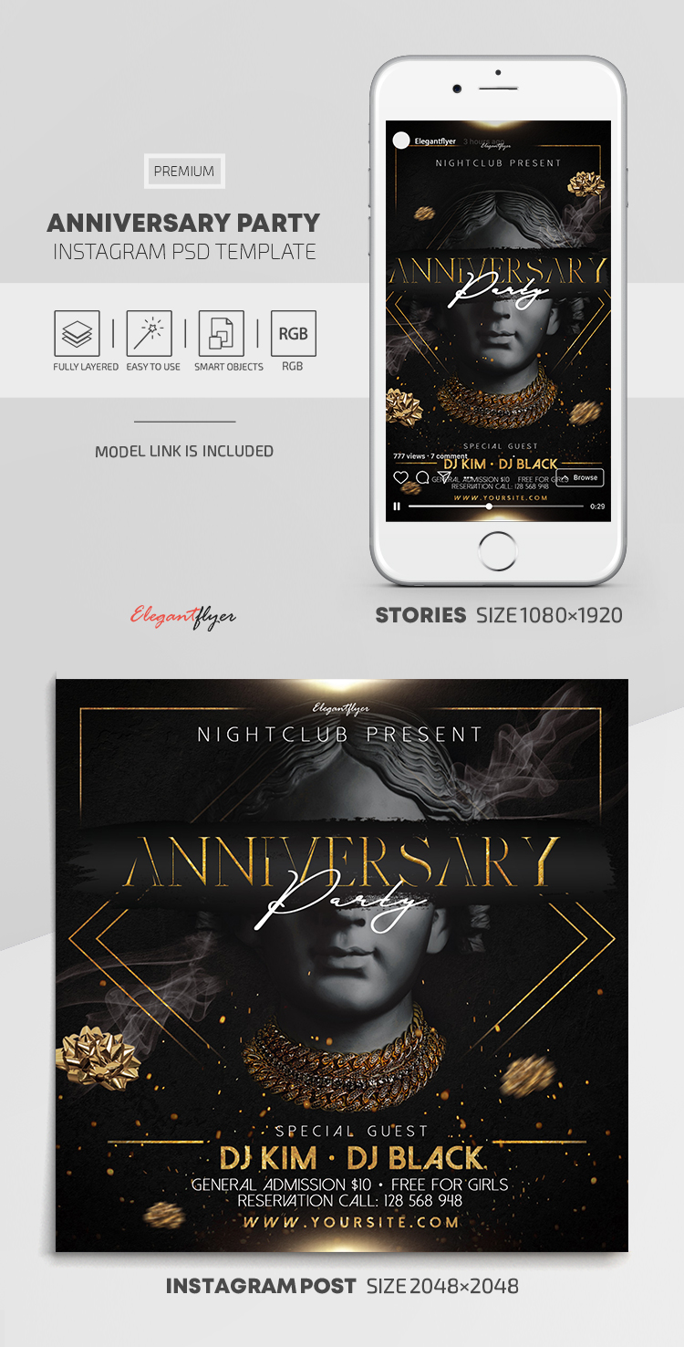 Anniversary Party – Premium Instagram Stories Template in PSD + Post Templates