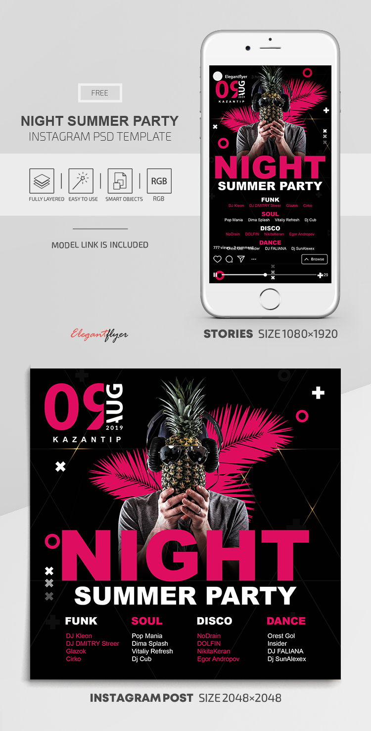 Night Summer Party – Free Instagram Stories Template in PSD + Post Templates