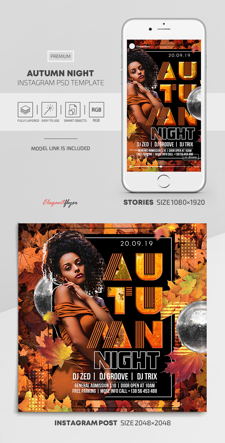 Autumn Night – Instagram Stories Template in PSD + Post Templates
