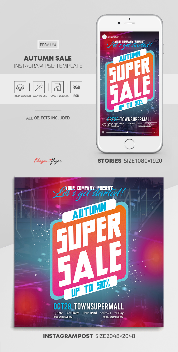 Autumn Sale – Instagram Stories Template in PSD + Post Templates