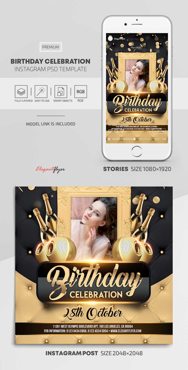 Birthday Celebration – Instagram Stories Template in PSD + Post Templates