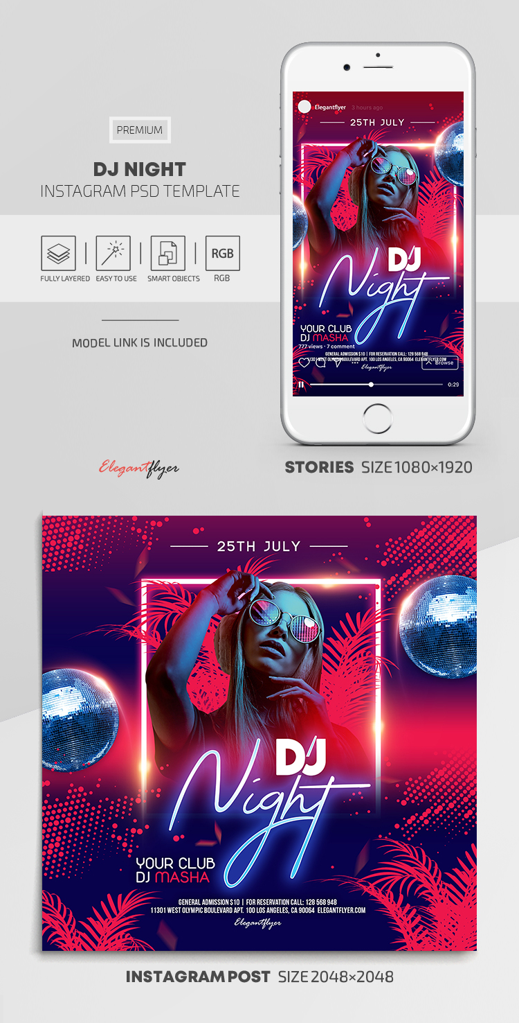 DJ Night – Instagram Stories Template in PSD + Post Templates